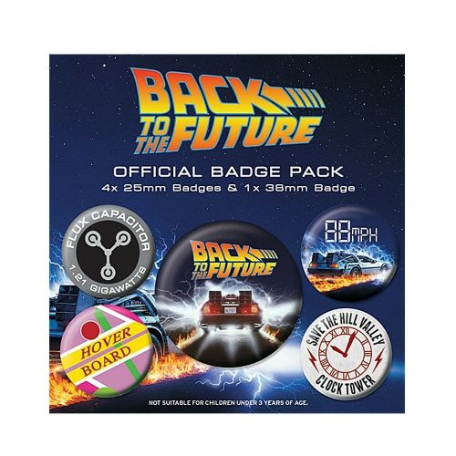 Back To The Future DeLorean Button Badge Pack